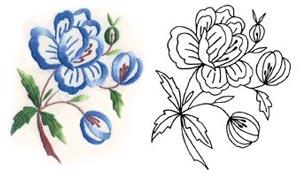 Цветочный рисунок вышивка