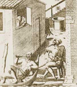 На гравюре XVI века венецианский гондольер, ожидая пассажира, который занят распеванием серенад под окном, ковыряет в зубах заострённой палочкой.