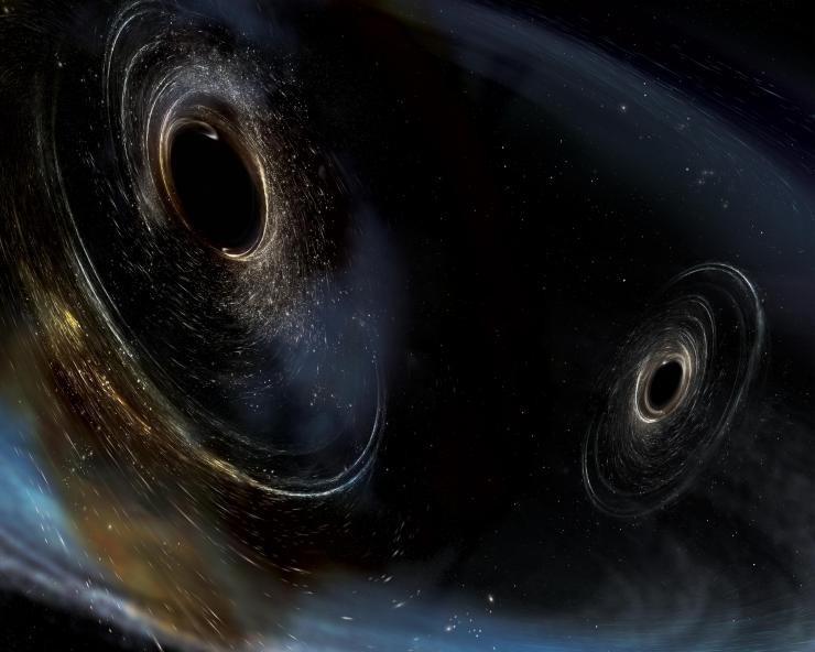 Модель «смертельного танца» чёрных дыр, слияние которых стало точкой отсчёта экспериментальной физики гравитационных волн.