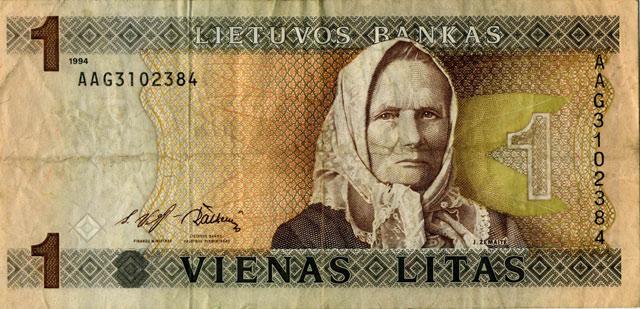 Литовская банкнота достоинством 1 лит.