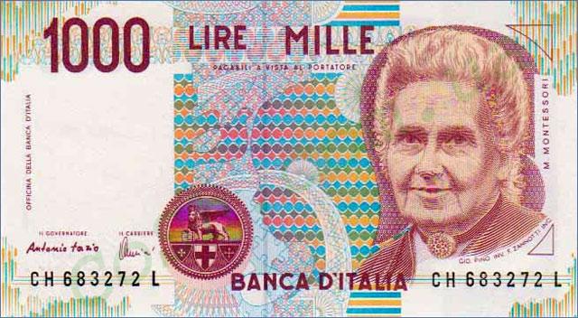 Итальянская банкнота достоинством 1000 лир.