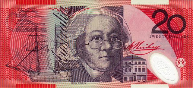 Австралийская банкнота достоинством 20 долларов.