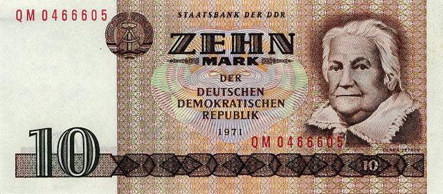 Немецкая банкнота достоинством 10 марок.