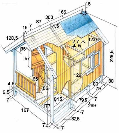 Детский домик для дачи из фанеры чертежи