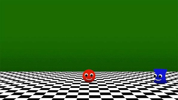 Анимация с «колобком», который должен перепрыгнуть через стену, чтобы добраться до своего товарища. (Иллюстрация: MIT.)