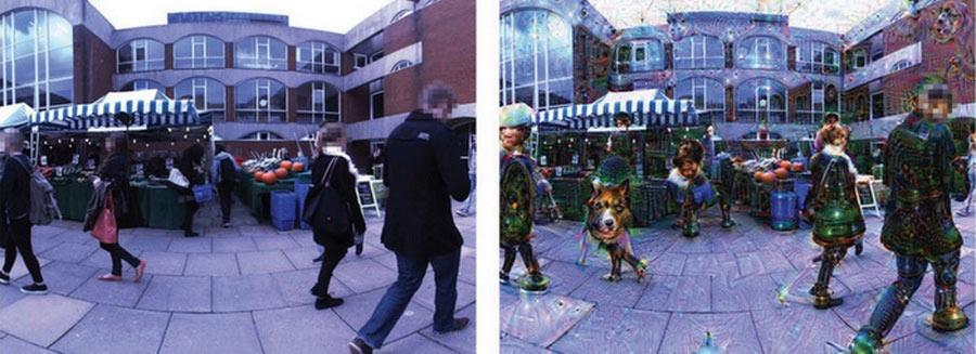 Справа – кадр из видео, снятого на улице: слева - тот же кадр, обработанный «галлюцинирующим» алгоритмом. (Фото: Suzuki et. al., Scientific Reports 7, Article number: 15982 (2017).)