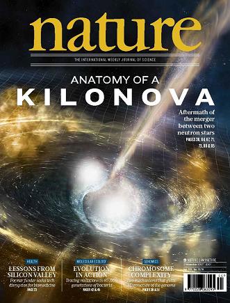 На обложке журнала Nature -  слияние нейтронных звезд в представлении художника.