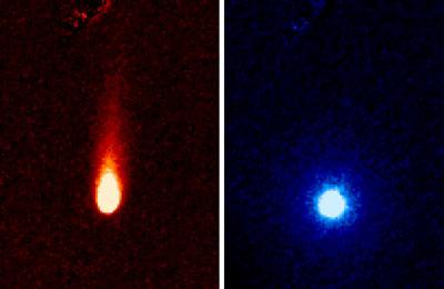Снимок кометы ISON (сделан орбитальным телескопом Spitzer в различных ИК диапазонах) – сайт НАСА. (на левом снимке виден хвост кометы из пыли, на правом снимке - шарообразное облако углекислого газа).