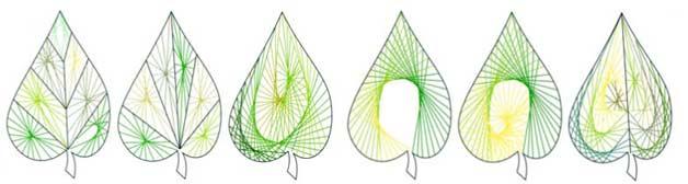 Рис. 8. Варианты вышивания листка растения нитками разных цветов и оттенков.