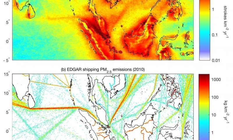Вверху: средняя плотность молний над Индийским океаном и Южно-Китайским морем за период с 2005 по 2016 год. Внизу: карта распределения выбросов морских судов за 2010 год в том же регионе. (Иллюстрация: Thornton et al/Geophysical Research Letters/AGU.)