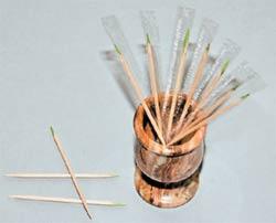 Эти зубочистки двусторонней заточки из натурального дерева отличаются от прочих мятным вкусом, который сосредоточен на зелёном конце.