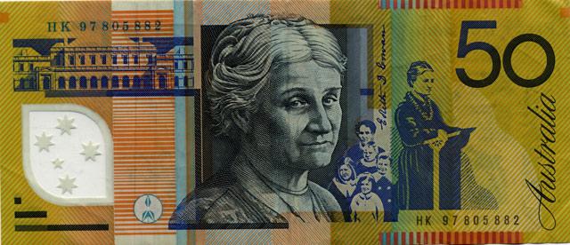 Австралийская банкнота достоинством 50 долларов.