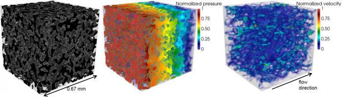 Трехмерная визуализация структуры пористой породы (слева), расчетное поле давлений (в центре) и поле скоростей течения флюида (справа), смоделированные для направления потока вдоль приложенного градиента давления.