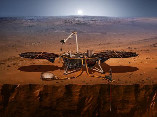 Как должен выглядеть InSight на поверхности Марса. Иллюстрация NASA.